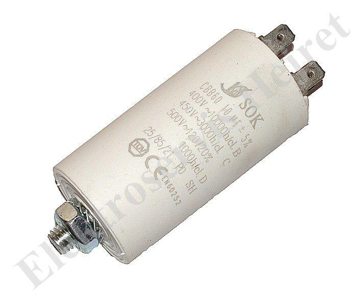 Kondenzátor 10uF, 400 - 500V so skrutkou, vývod faston