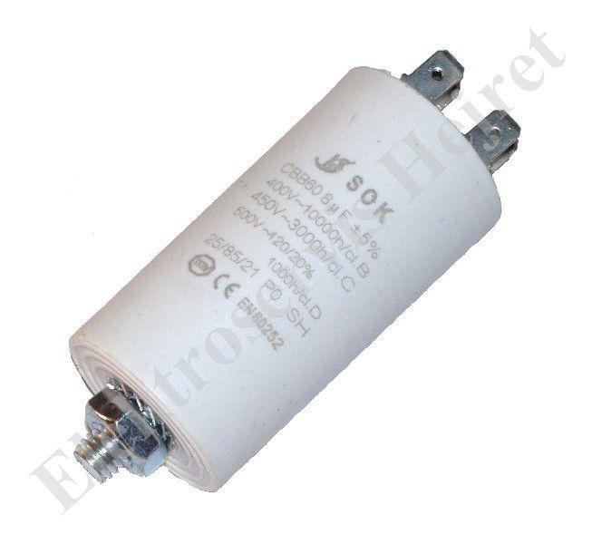 Kondenzátor 8uF, 400 - 500V so skrutkou, vývod faston